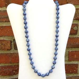 Vintage blue and white ceramic bead necklace